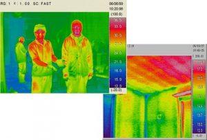 目には見えない温度放射を赤外線カメラで覗く (赤いところは温度の高いところ)