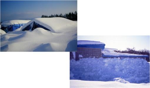 雪で覆われた断熱ムロ走行クレーンを持つ断熱ブロック造の貯蔵庫